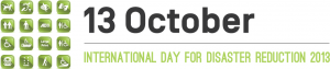 Image of accessibility symbols placed beside text with the date of October 13, the International Day for Disaster Reduction