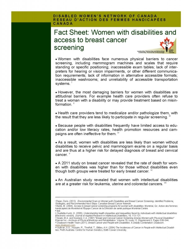 Fact sheet – Women with disabilities and access to breast cancer screening