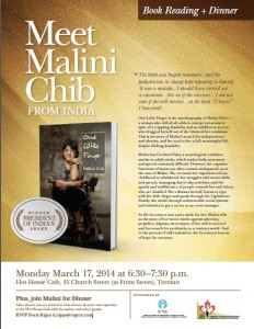 Poster for Malini Chib - Book Reading March 17th