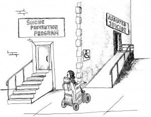 """Cartoon drawing of a person in a wheel chair in front of a building with stairs on one side leading to a sign that says """"Suicide Prevention PRogram"""" and a ramp on the other side with a sign that says """"Assisted Suicide"""""""