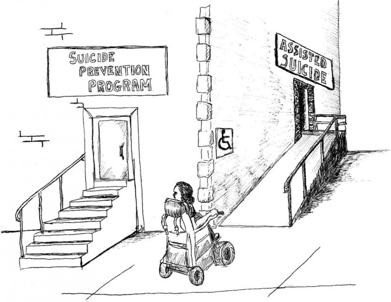 "Cartoon drawing of a person in a wheel chair in front of a building with stairs on one side leading to a sign that says ""Suicide Prevention PRogram"" and a ramp on the other side with a sign that says ""Assisted Suicide"""