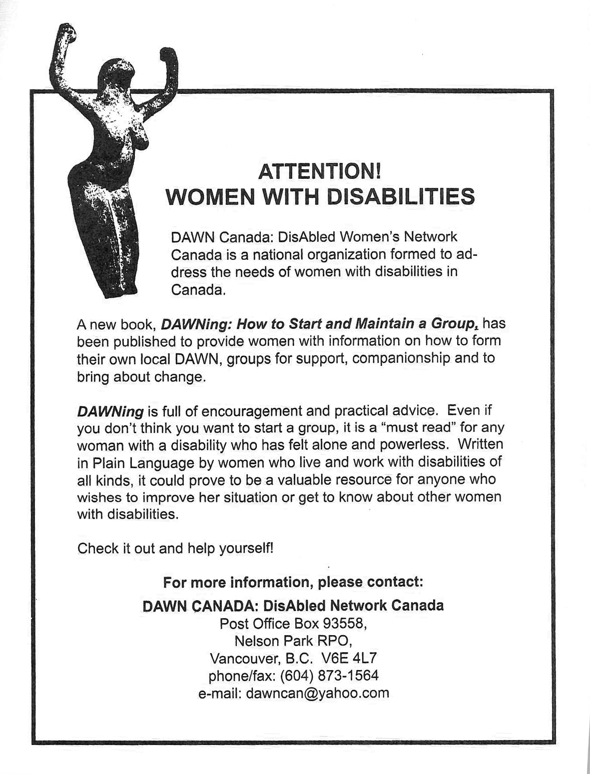 Scan of a flyer that contains the quoted text above