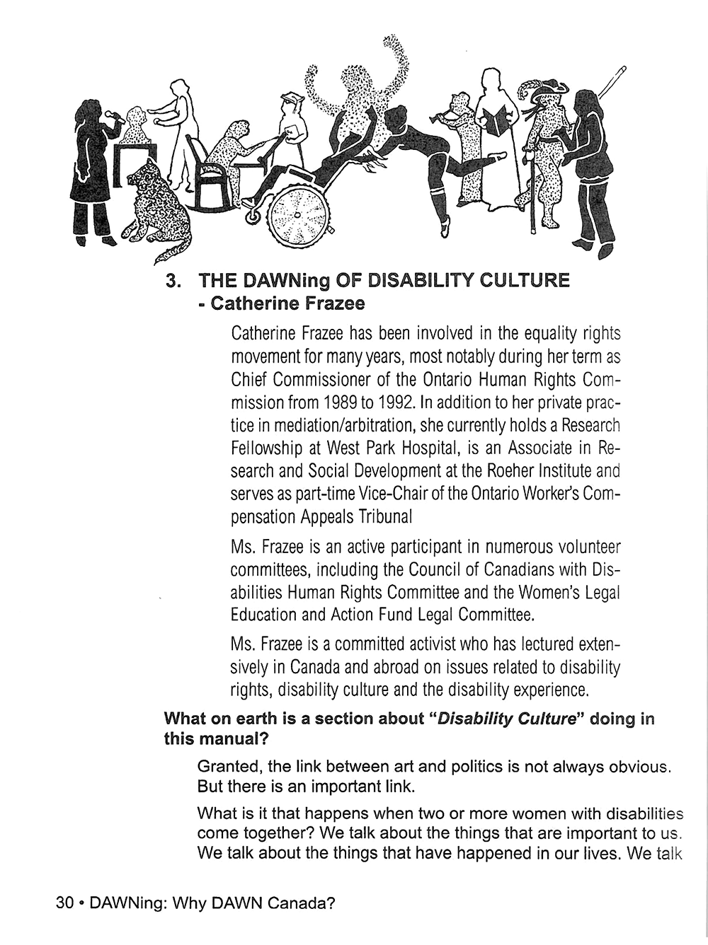 "Scan of the article ""The DAWNing of disability culture"" by Catherine Frazee"